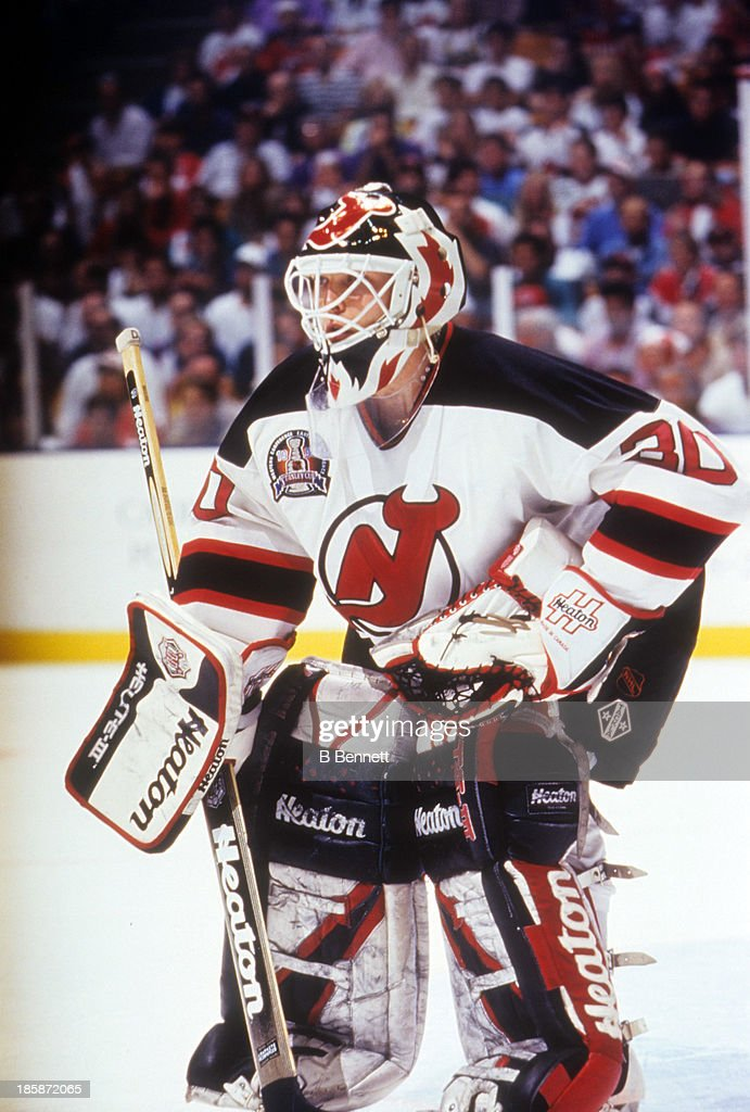 Goalie Martin Brodeur Defends The Net During Game 4 Of The 1995