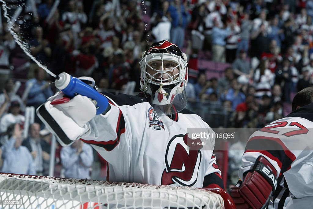 Goalie Martin Brodeur Gestures To His Children Off Ice After
