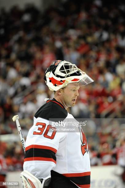 Goalie Martin Brodeur of the New Jersey Devils looks on the ice against the Carolina Hurricanes during Game Four of the Eastern Conference...
