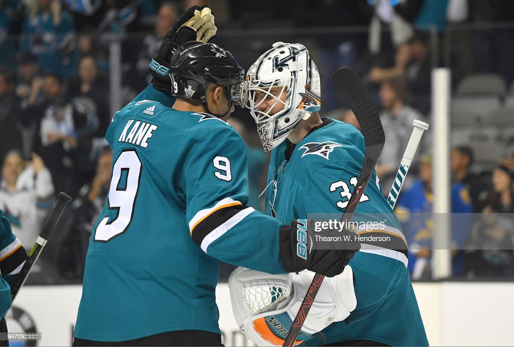 Goalie Martin Jones #31 and Evander Kane #9 of the San Jose Sharks celebrates defeating the Anaheim Ducks 8-1 in Game Three of the Western Conference First Round during the 2018 NHL Stanley Cup Playoffs at SAP Center on April 16, 2018 in San Jose, California.