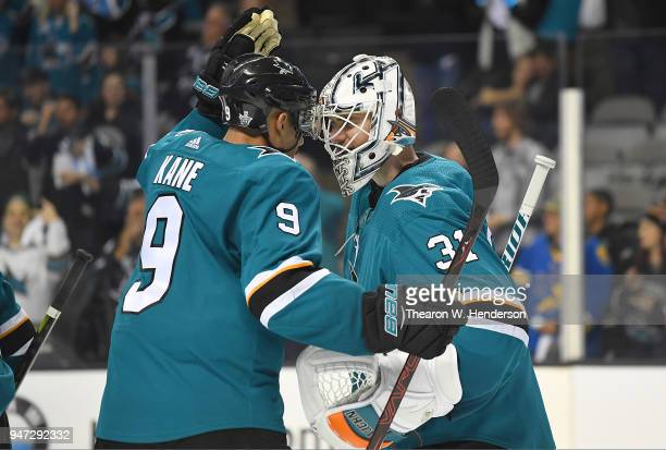 Goalie Martin Jones and Evander Kane of the San Jose Sharks celebrates defeating the Anaheim Ducks 81 in Game Three of the Western Conference First...