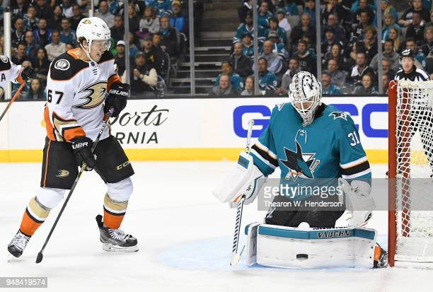 Goalie Martin Jones of the San Jose Sharks blocks a shot against Rickard Rakell of the Anaheim Ducks during the third period in Game Four of the...