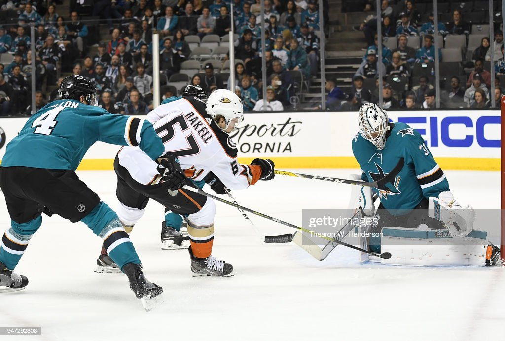 Goalie Martin Jones #31 of the San Jose Sharks defends against Rickard Rakell #67 of the Anaheim Ducks during the third period in Game Three of the Western Conference First Round during the 2018 NHL Stanley Cup Playoffs at SAP Center on April 16, 2018 in San Jose, California.