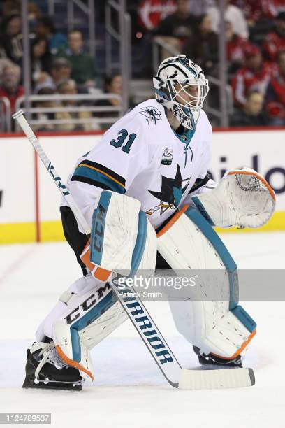 Goalie Martin Jones of the San Jose Sharks in action against the Washington Capitals during the second period at Capital One Arena on January 22 2019...
