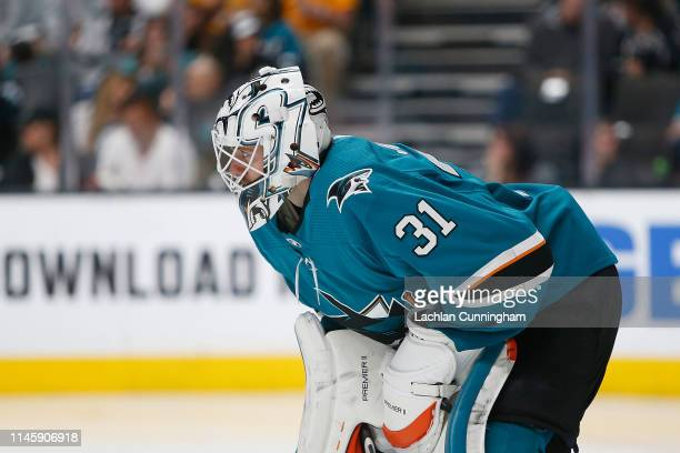 Goalie Martin Jones of the San Jose Sharks looks on against the Colorado Avalanche in Game Two of the Western Conference Second Round during the 2019...