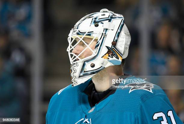 Goalie Martin Jones of the San Jose Sharks looks on against the Anaheim Ducks during the third period in Game Three of the Western Conference First...