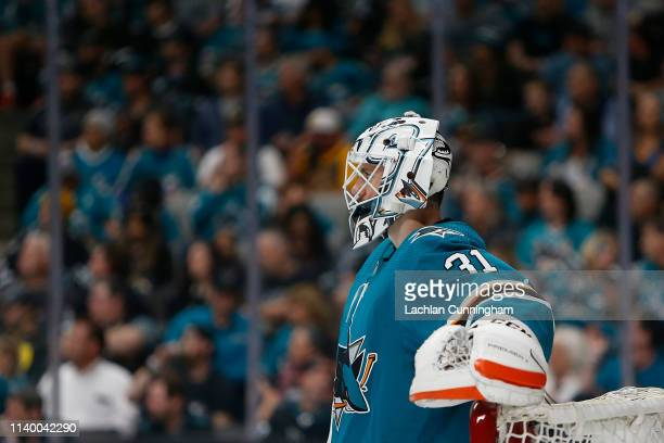 Goalie Martin Jones of the San Jose Sharks looks on during Game Two of the Western Conference Second Round during the 2019 NHL Stanley Cup Playoffs...