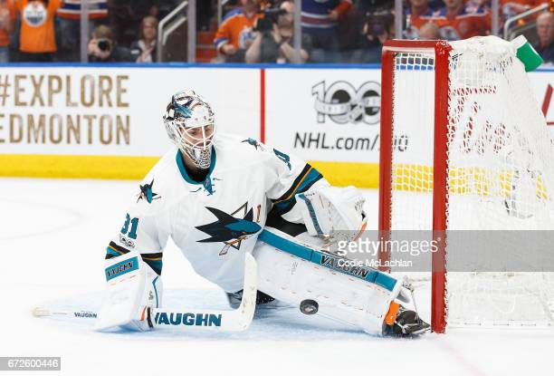 Goalie Martin Jones of the San Jose Sharks makes a save against the Edmonton Oilers in Game Five of the Western Conference First Round during the...