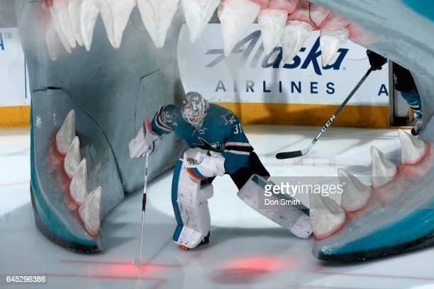 Goalie Martin Jones of the San Jose Sharks skates onto the ice prior to a NHL game against the Boston Bruins at SAP Center at San Jose on February 19...