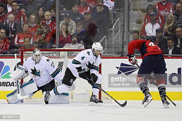 Goalie Martin Jones of the San Jose Sharks tends the net against the Washington Capitals during the third period at Verizon Center on November 8 2016...