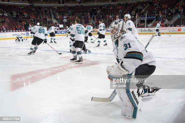 Goalie Martin Jones of the San Jose Sharks warms up prior to the game against the Chicago Blackhawks at the United Center on March 26 2018 in Chicago...