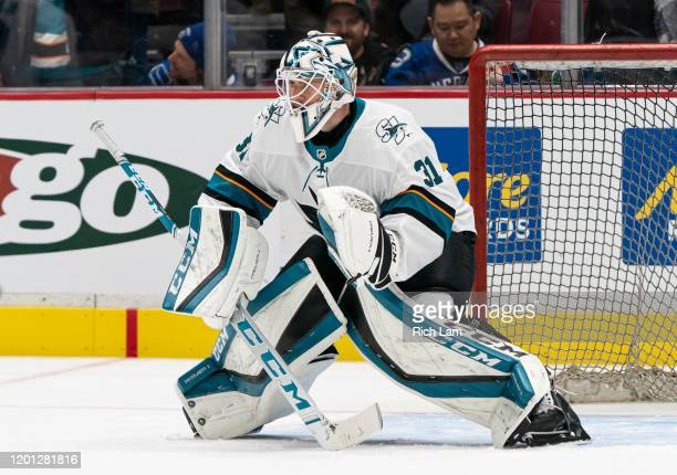 Goalie Martin Jones  readies to make a save during the team warm up prior to NHL action against the Vancouver Canucks at Rogers Arena on January 18...