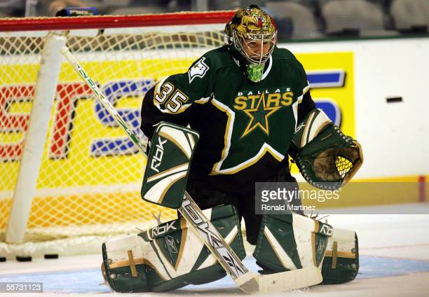 Goalie Marty Turco of the Dallas Stars on the ice before a game against the Edmonton Oilers September 20 2005 at American Airlines Center in Dallas...
