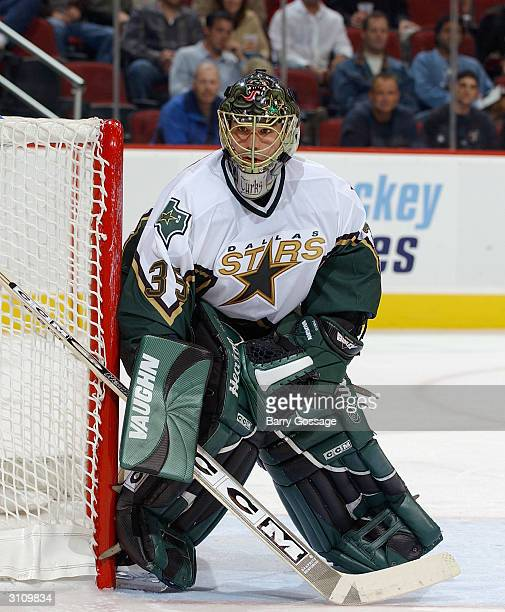 Goalie Marty Turco of the Dallas Stars stands in goal during the game against the Phoenix Coyotes on February 14 2004 at Glendale Arena in Glendale...
