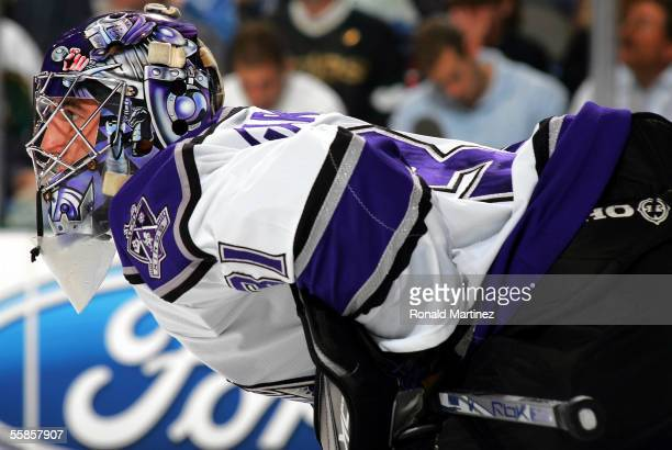 Goalie Mathieu Garon of the Los Angeles Kings readies himself during the game against the Dallas Stars on October 5 2005 at the American Airlines...