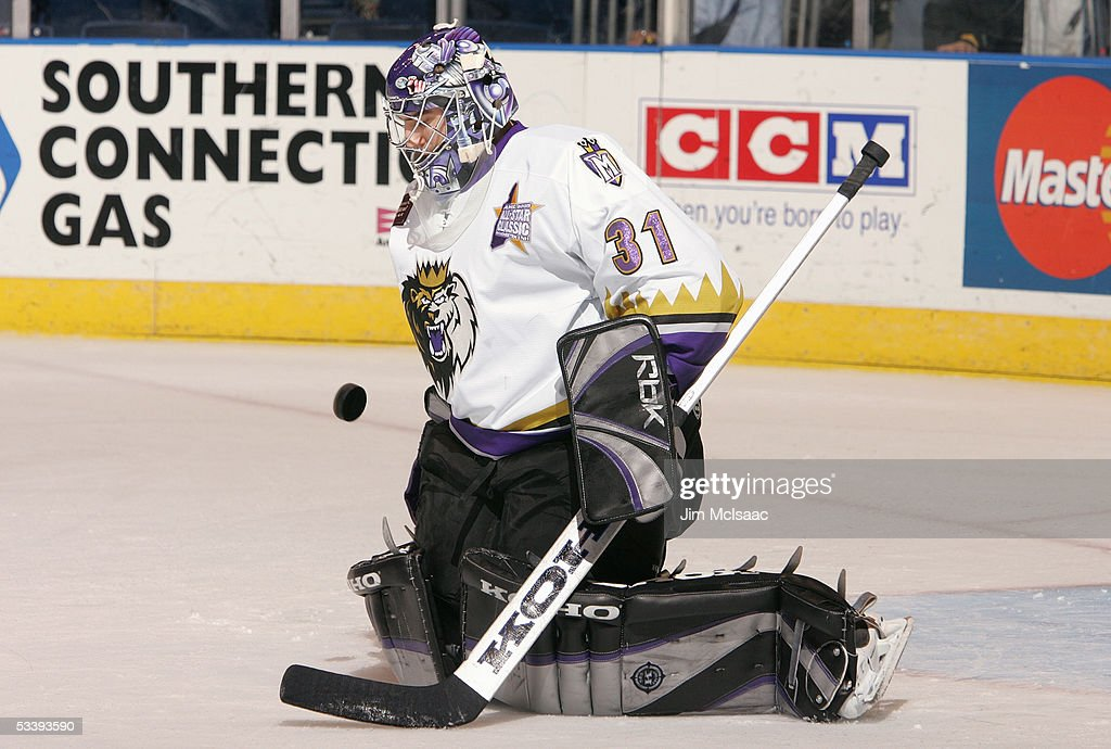 Goalie Mathieu Garon #31 of the Manchester Monarchs makes a save during a American Hockey League game against the Bridgeport Sound Tigers at the Arena at Harbor Yard on December 10, 2004 in Bridgeport, Connecticut. The Sound Tigers won 4-2.