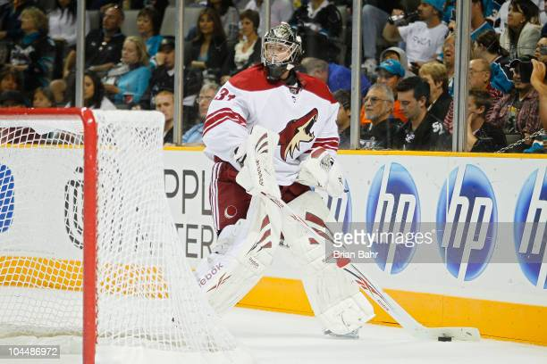 Goalie Matt Climie of the Phoenix Coyotes collects the puck against the San Jose Sharks in a preseason splitsquad game at HP Pavilion on September 25...