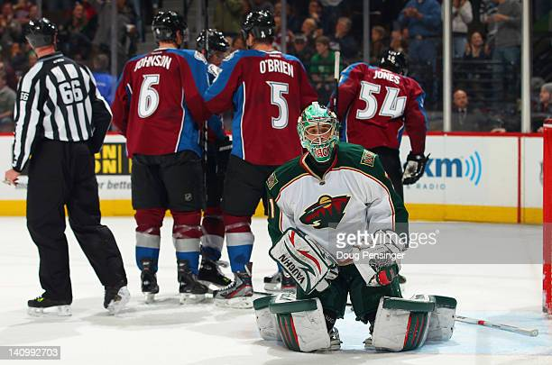 Goalie Matt Hackett of the Minnesota Wild looks on as the Colorado Avalanche celebrate a second period goal by Mark Olver of the Avalanche to give...