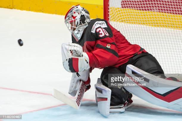 Goalie Matt Murray of Canada makes a save during the 2019 IIHF Ice Hockey World Championship Slovakia semi final game between Canada and Czech...