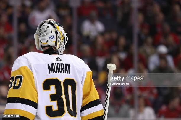 Goalie Matt Murray of the Pittsburgh Penguins looks on against the Washington Capitals during the second period in Game Two of the Eastern Conference...