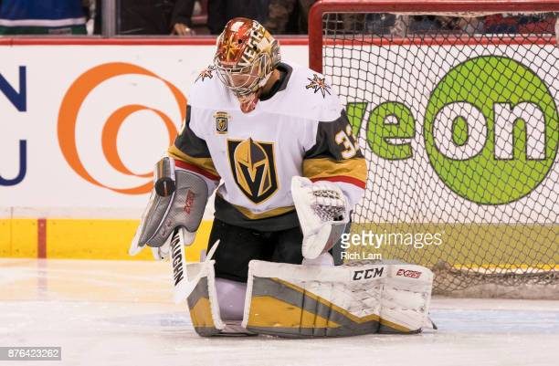 Goalie Maxime Lagace of the Vegas Golden Knights makes a save during the pregame warmup prior to NHL action against the Vancouver Canucks on November...