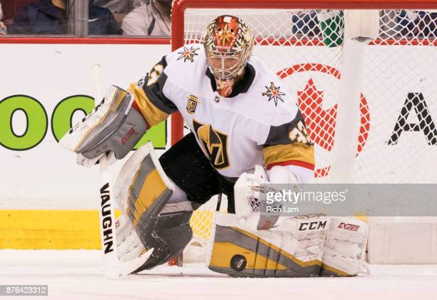 Goalie Maxime Lagace of the Vegas Golden Knights makes a save during NHL action against the Vancouver Canucks on November 2017 at Rogers Arena in...
