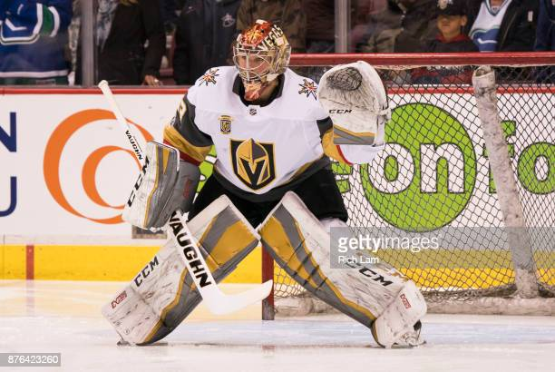 Goalie Maxime Lagace of the Vegas Golden Knights readies to make a save during the pregame warmup prior to NHL action against the Vancouver Canucks...