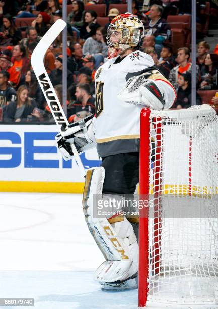 Goalie Maxime Lagace of the Vegas Golden Knights stands in the crease during the first period of the game against the Anaheim Ducks at Honda Center...