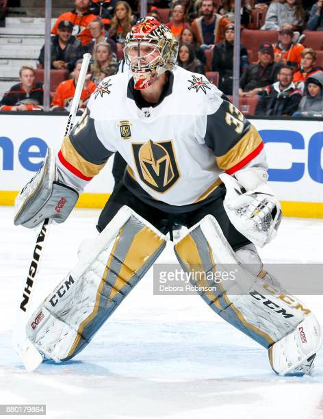 Goalie Maxime Lagace of the Vegas Golden Knights tends net during the third period of the game against the Anaheim Ducks at Honda Center on November...