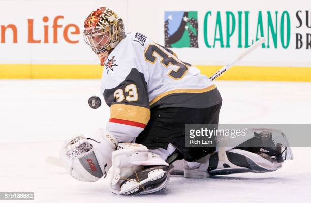Goalie Maxime Lagace of the Vegas Golden Knights watches the puck bounce toward the corner after making a save against the Vegas Golden Knights in...
