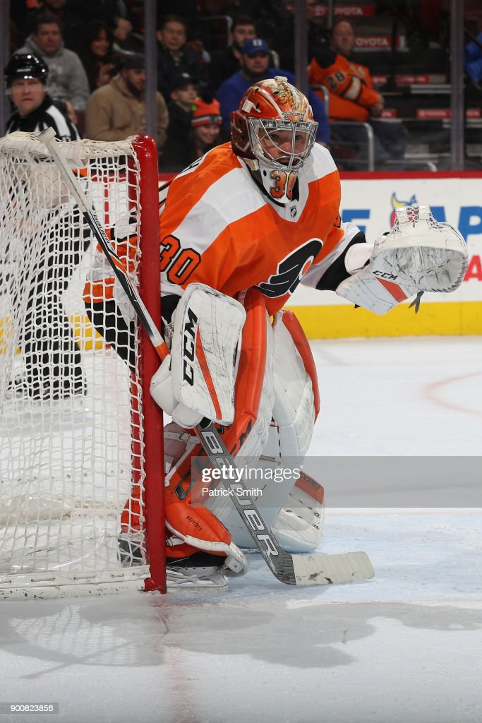 Goalie Michal Neuvirth #30 of the Philadelphia Flyers tends the net against the Pittsburgh Penguins during the third period at Wells Fargo Center on January 2, 2018 in Philadelphia, Pennsylvania.