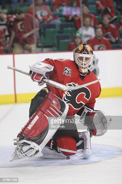 Goalie Miikka Kiprusoff of the Calgary Flames skates on the ice in game two of the Western Conference Quarterfinals against the Anaheim Mighty Ducks...