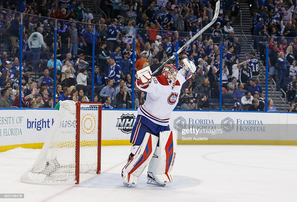 Goalie Mike Condon #39 of the Montreal Canadiens celebrates the win against the Tampa Bay Lightning at the Amalie Arena on December 28, 2015 in Tampa, Florida.