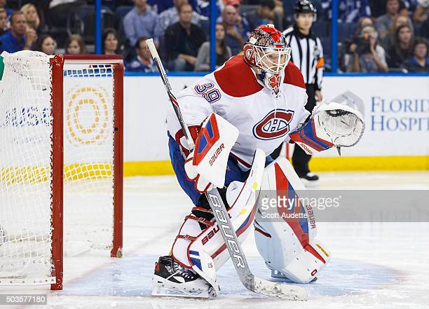 Goalie Mike Condon of the Montreal Canadiens skates against the Tampa Bay Lightning at the Amalie Arena on December 28 2015 in Tampa Florida