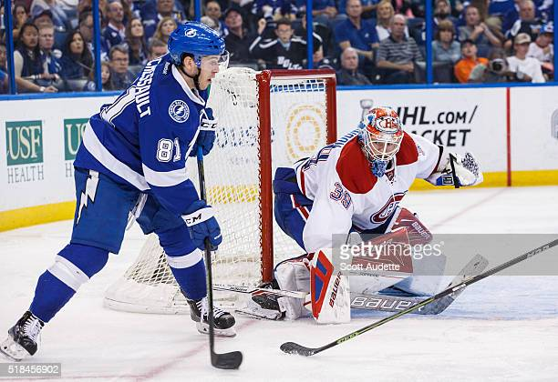 Goalie Mike Condon of the Montreal Canadiens tends net against Jonathan Marchessault of the Tampa Bay Lightning during the third period at the Amalie...