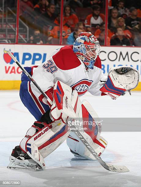 Goalie Mike Condon of the Montreal Canadiens tends the net against the Philadelphia Flyers during the second period at Wells Fargo Center on February...