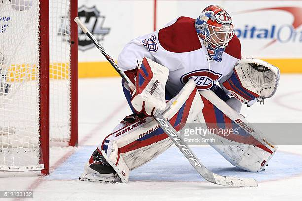 Goalie Mike Condon of the Montreal Canadiens tends the net against the Washington Capitals in the second period at Verizon Center on February 24 2016...