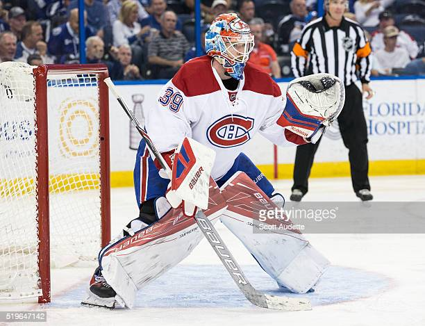 Goalie Mike Condon the Montreal Canadiens skates against the Tampa Bay Lightning at the Amalie Arena on March 31 2016 in Tampa Florida