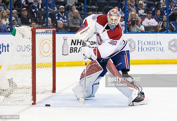 Goalie Mike Condon the Montreal Canadiens tends net against the Tampa Bay Lightning at the Amalie Arena on March 31 2016 in Tampa Florida