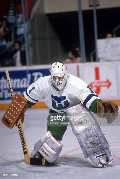 Goalie Mike Liut of the Hartford Whalers looks to make the save during an NHL game circa 1988 at the Hartford Civic Center in Hartford Connecticut