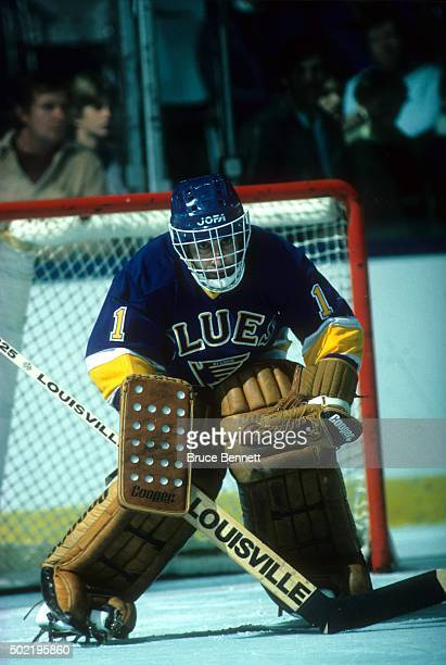 Goalie Mike Liut of the St Louis Blues defends the net during an NHL game against the New York Islanders circa 1983 at the Nassau Coliseum in...