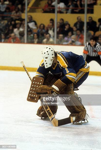 Goalie Mike Liut of the St Louis Blues makes the stick save during an NHL game against the Boston Bruins circa 1980 at the Boston Garden in Boston...