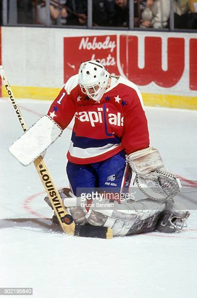 Goalie Mike Liut of the Washington Capitals makes the save during an NHL game against the New York Rangers circa 1992 at the Madison Square Garden in...