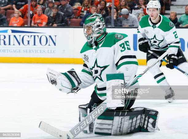 Goalie Mike McKenna of the Dallas Stars gloves a puck during the first period of the game against the Anaheim Ducks at Honda Center on April 6 2018...