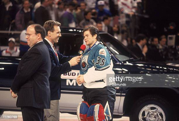Goalie Mike Richter of the Eastern Conference and the New York Rangers stands in front of the truck he won for being named the most valuable player...