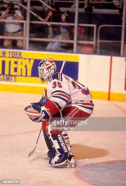 Goalie Mike Richter of the New York Rangers defends the net during Game 5 of the 1994 Eastern Conference Finals against the New Jersey Devils on May...