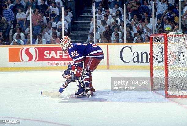 Goalie Mike Richter of the New York Rangers defends the net during Game 6 of the 1994 Stanley Cup Finals against the Vancouver Canucks on June 11,...