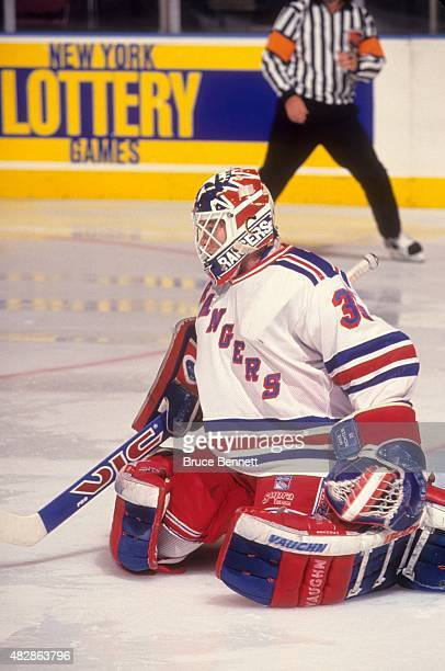 Goalie Mike Richter of the New York Rangers defends the net during an NHL game against the Washington Capitals on November 13 1993 at the Madison...