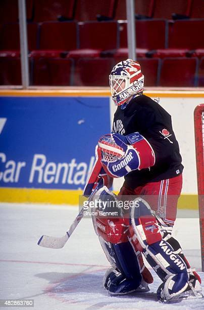 Goalie Mike Richter of the New York Rangers defends the net during practice before Game 3 of the 1994 Stanley Cup Finals against the Vancouver...