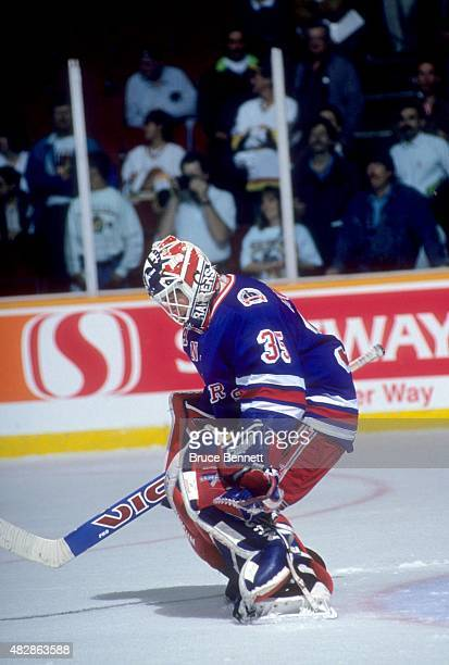 Goalie Mike Richter of the New York Rangers makes the save during Game 3 of the 1994 Stanley Cup Finals against the Vancouver Canucks on June 4 1994...